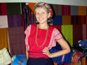 Trying on 'traje' or local Mayan dress
